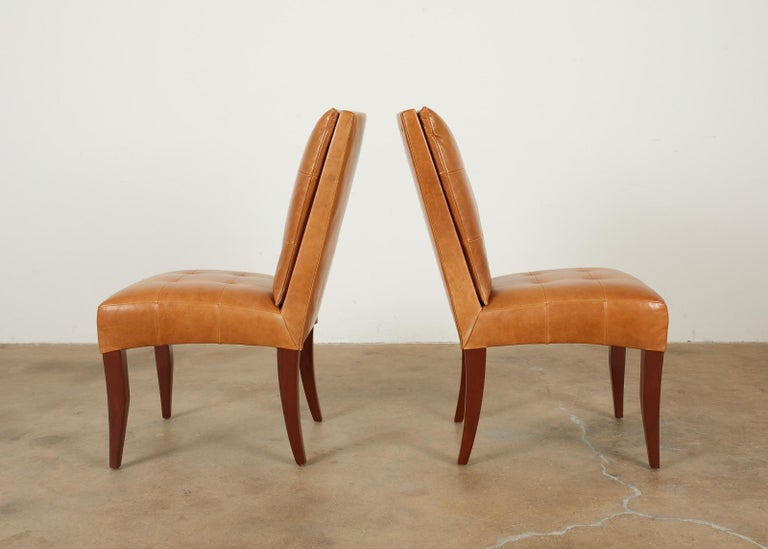 Hand-Crafted Set of Eight Dakota Jackson Puff Leather Dining Chairs