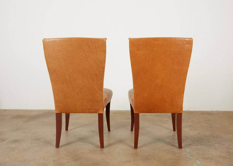 Set of Eight Dakota Jackson Puff Leather Dining Chairs In Good Condition In Rio Vista, CA