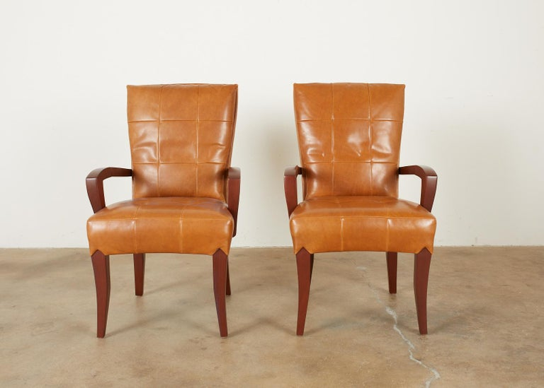 Contemporary Set of Eight Dakota Jackson Puff Leather Dining Chairs