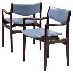 Set of Eight Danish Armchairs in Mahogany and Baby Blue Leather