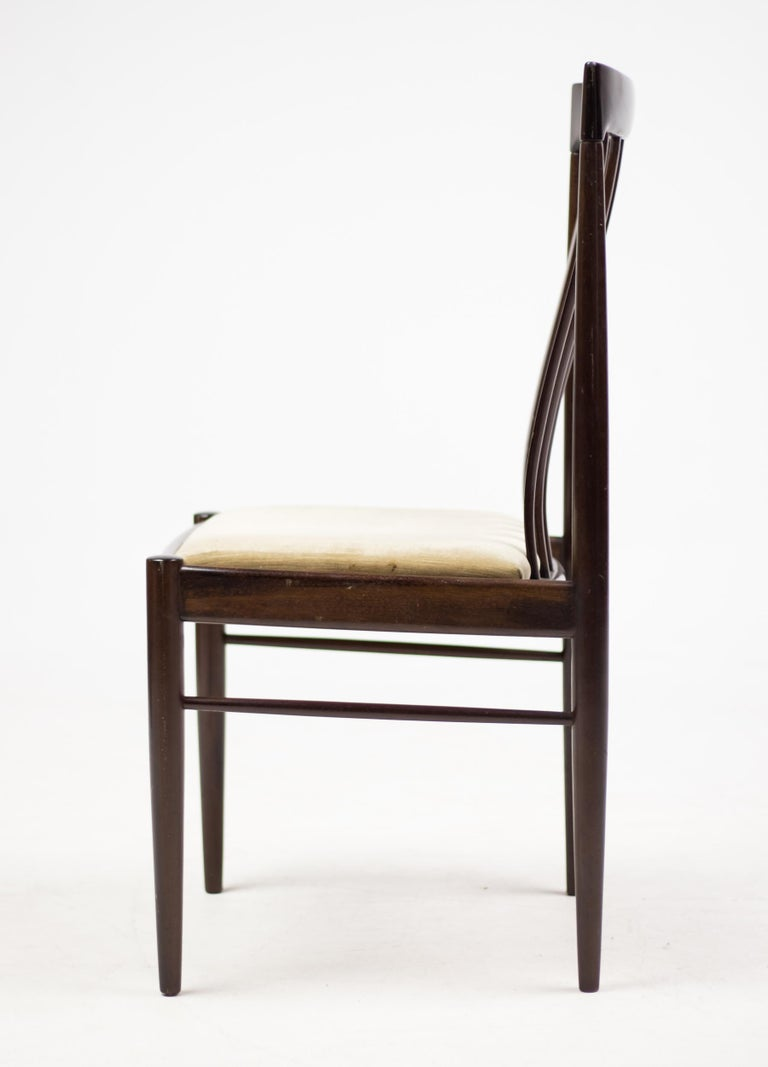 Velvet Set of Eight Danish Dining Chairs by H.W. Klein in Mahogany For Sale