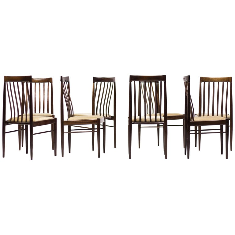 Set of Eight Danish Dining Chairs by H.W. Klein in Mahogany For Sale