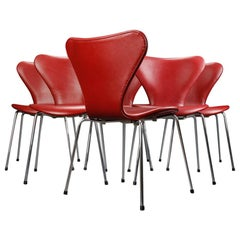 Set of Eight Danish Dining Chairs in Indian Red Leather by Arne Jacobsen 1960s