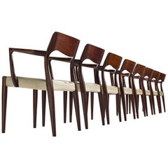Set of Eight Danish Dining Chairs in Stained Wood with Armrests