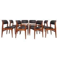 Set of Eight Danish Modern Teak Dining Chairs in Style of Erik Buch, circa 1970s