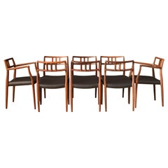 Set of Eight Danish Rosewood Moller Dining Chairs Model 79 and 64
