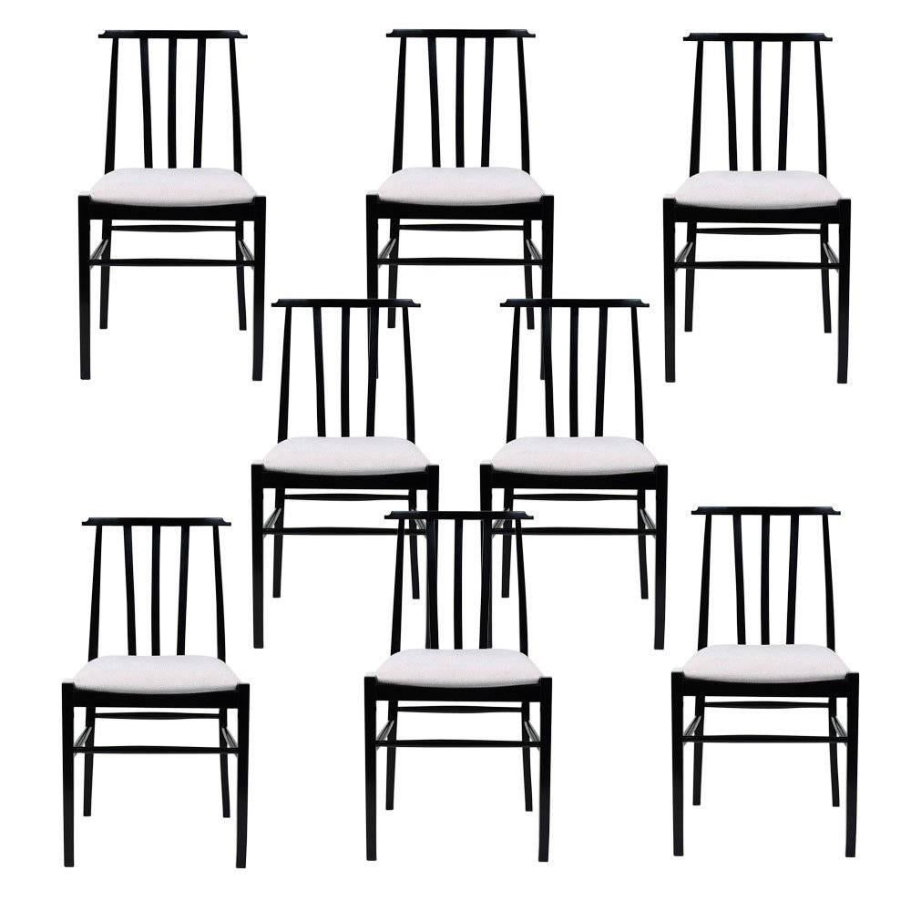 Set Of Eight Danish Style Dining Room Chairs For Sale
