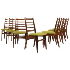 Set of Eight Danish Walnut Wood Dining Room Chairs, circa 1960