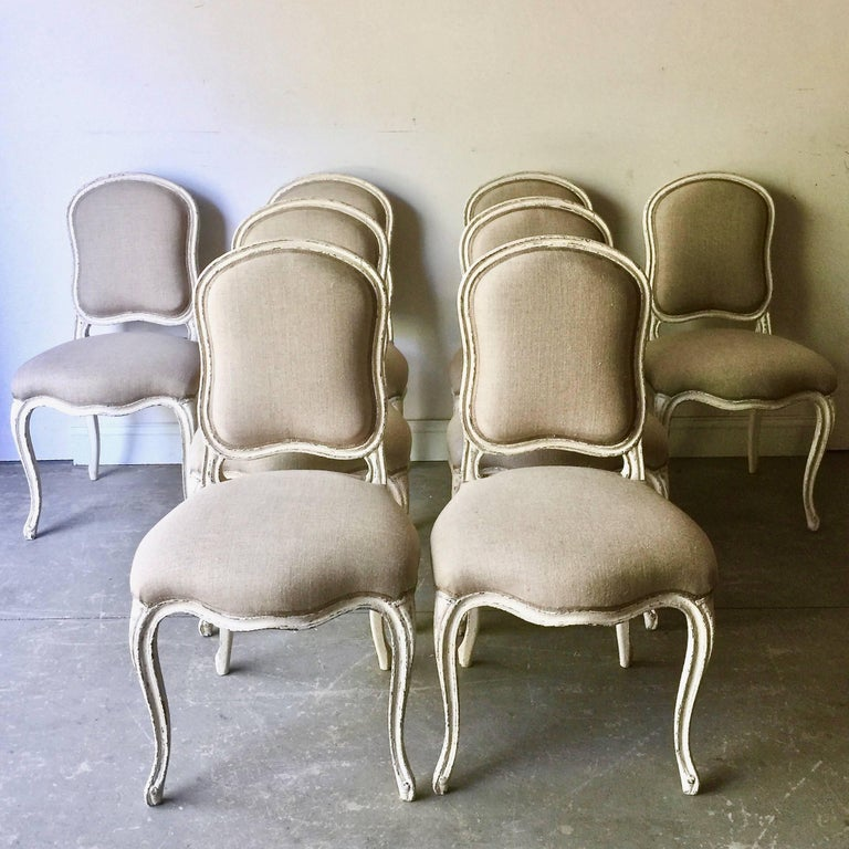 Set of Eight Decoratively Carved French Louis XV Style Chairs In Good Condition For Sale In Charleston, SC
