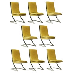 Set of Eight DIA Chrome Z-Dining Chairs