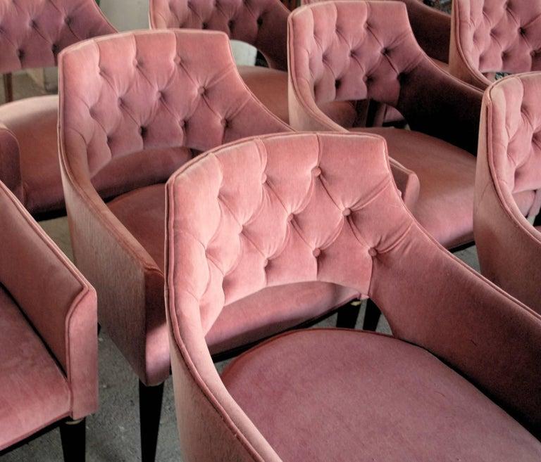 Mid-Century Modern Set of Eight Dining Armchair, Tufted Cotton Velvet, Midcentury Style For Sale