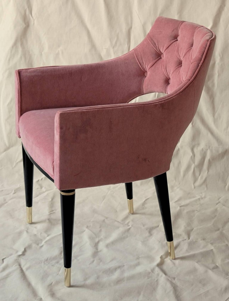 Italian Set of Eight Dining Armchair, Tufted Cotton Velvet, Midcentury Style For Sale