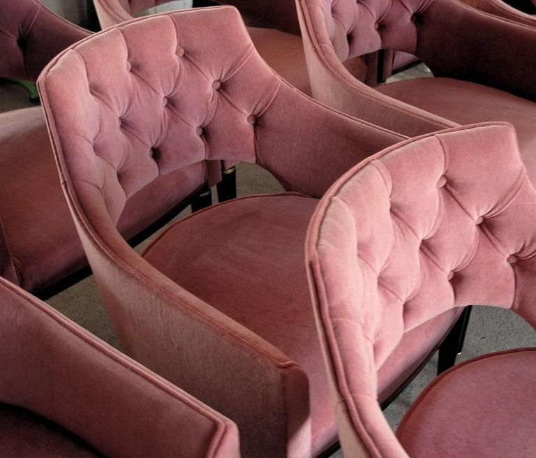 Ebonized Set of Eight Dining Armchair, Tufted Cotton Velvet, Midcentury Style For Sale