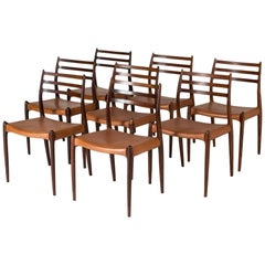 Set of Eight Dining Chairs by Niels O. Møller