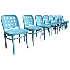 Set of Eight Dining Chairs Designed by Michael Thonet, Bentwood, Aqua color