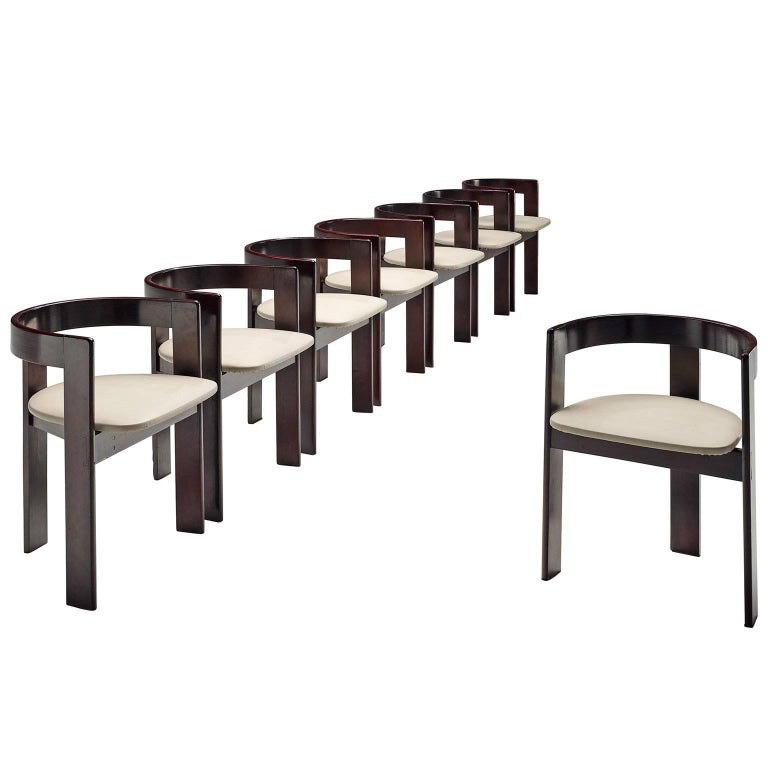 Set of Eight Dining Chairs in Ebonized Wood