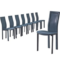 Set of Eight Dining Chairs in Ice Blue Leather by Cattelan Italia