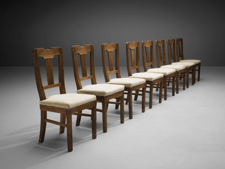Art Deco Set of Eight Dining Chairs in Oak by Ernesto Valabrega For Sale