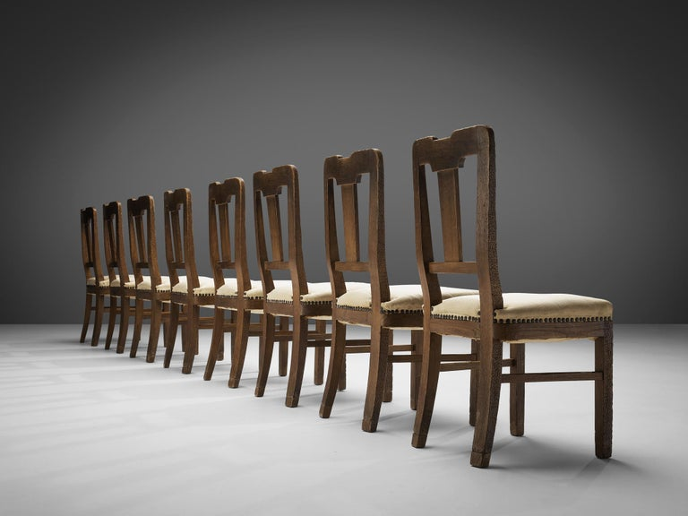 Italian Set of Eight Dining Chairs in Oak by Ernesto Valabrega For Sale