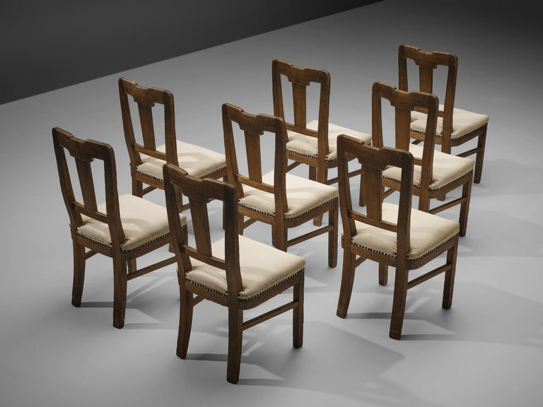 Set of Eight Dining Chairs in Oak by Ernesto Valabrega In Good Condition For Sale In Waalwijk, NL