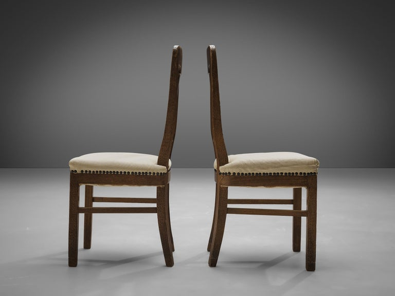 Metal Set of Eight Dining Chairs in Oak by Ernesto Valabrega For Sale