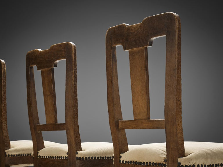 Set of Eight Dining Chairs in Oak by Ernesto Valabrega For Sale 1