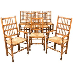 Set of Eight Dining Chairs, Lancashire Spindleback, English Quality 20th Century