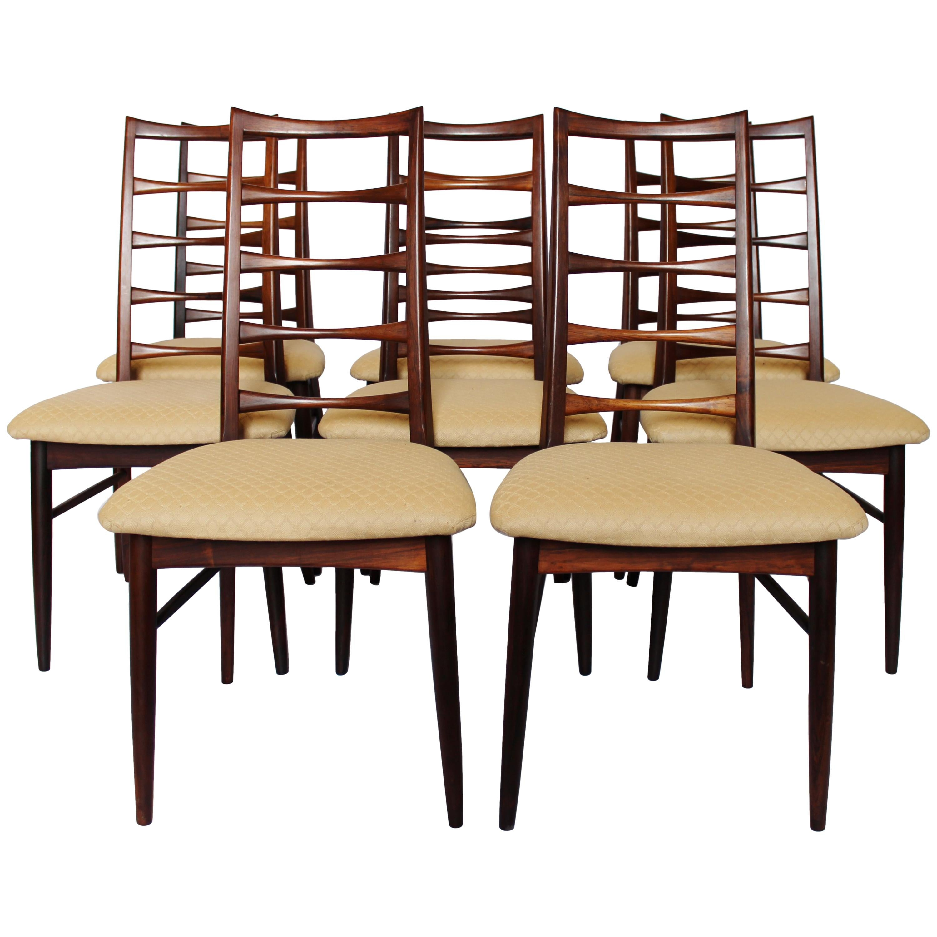 Set of Eight Dining Chairs, Model Lis, in Rosewood by Niels Koefoed, 1960s