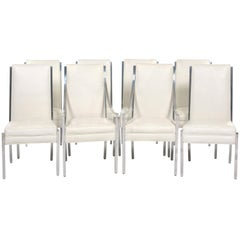 Set of Eight Dining Chairs with White Faux Ostrich Leather and Chrome Frames