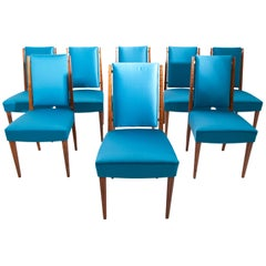 Set of Eight Dining Room Chairs, France, Mid-20th Century