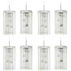 Set of Eight Doria Ice Glass Pendants Germany 1960s