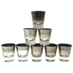 Set of Eight Dorothy Thorpe Barware Shot Glasses with Silver Overlay circa 1960s