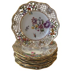 Set of Eight Dresden Limbach German Reticulated Hand Painted Floral Plates