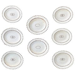 Set of Eight Early 19th Century Brown & White Reticulated Oval Creamware Plates