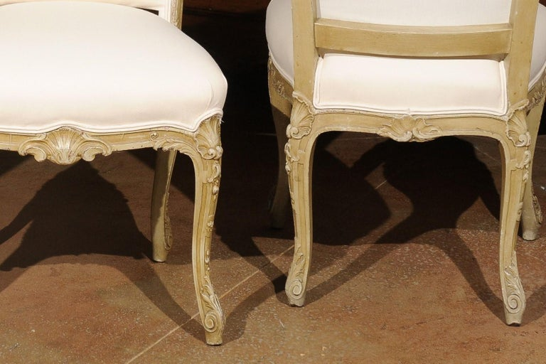 Set of Eight Early 20th Century Painted and Carved Dining Chairs from Marseille For Sale 5