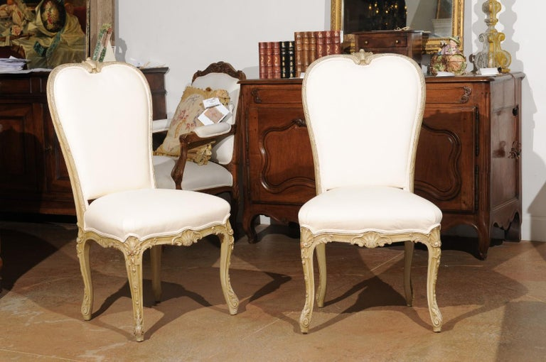 Set of Eight Early 20th Century Painted and Carved Dining Chairs from Marseille For Sale 6