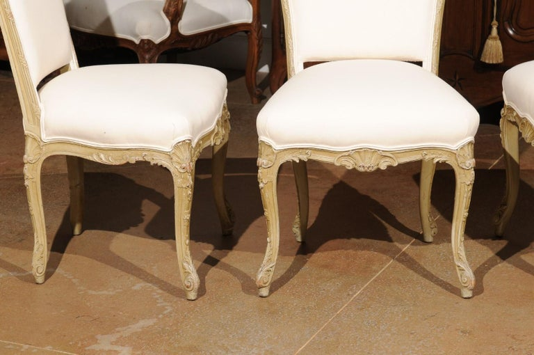 Set of Eight Early 20th Century Painted and Carved Dining Chairs from Marseille In Good Condition For Sale In Atlanta, GA