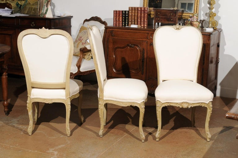Wood Set of Eight Early 20th Century Painted and Carved Dining Chairs from Marseille For Sale