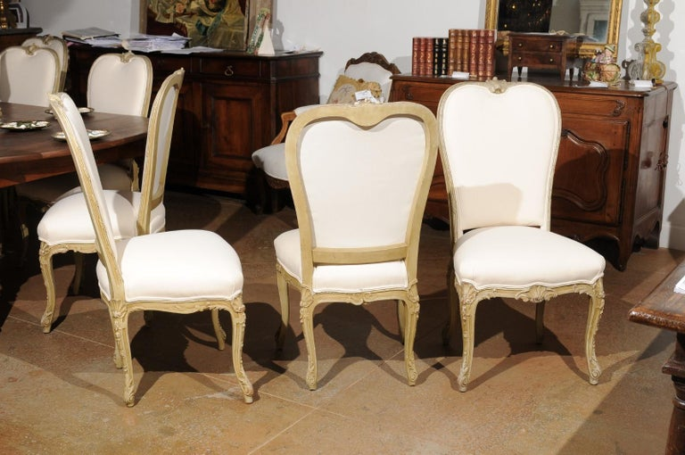 Set of Eight Early 20th Century Painted and Carved Dining Chairs from Marseille For Sale 1