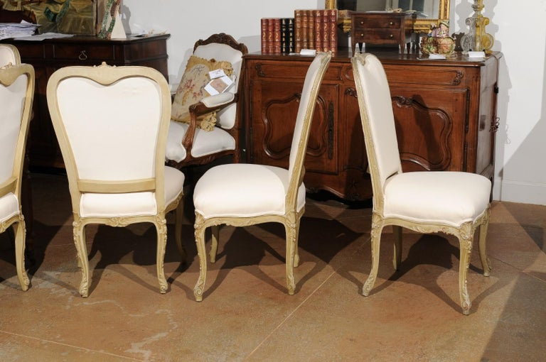 Set of Eight Early 20th Century Painted and Carved Dining Chairs from Marseille For Sale 2