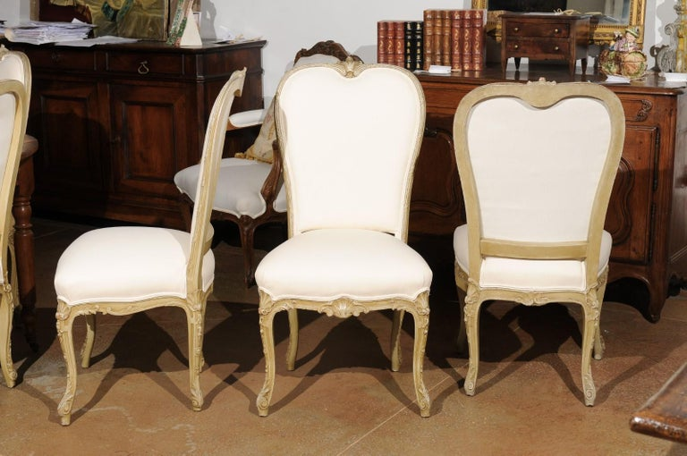 Set of Eight Early 20th Century Painted and Carved Dining Chairs from Marseille For Sale 3