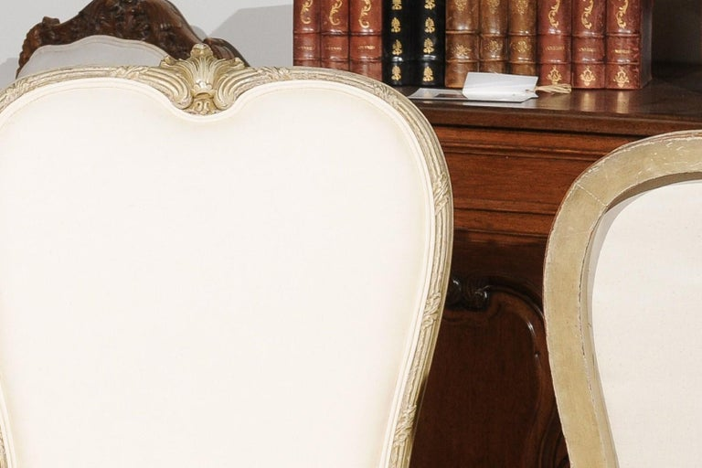 Set of Eight Early 20th Century Painted and Carved Dining Chairs from Marseille For Sale 4