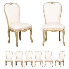 Set of Eight Early 20th Century Painted and Carved Dining Chairs from Marseille