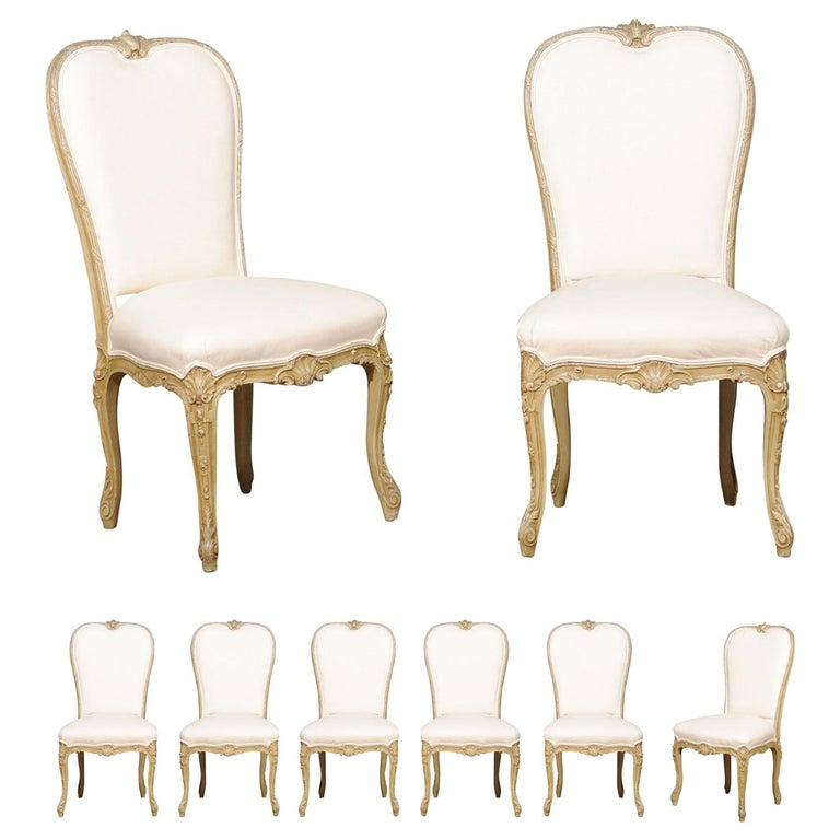 Set of Eight Early 20th Century Painted and Carved Dining Chairs from Marseille For Sale