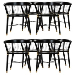 Set of Eight Ebonized Dining Chairs with String Detail