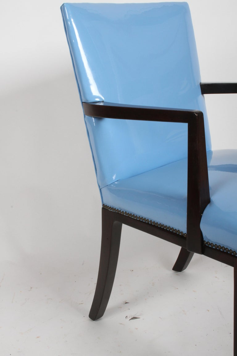 Upholstery Set of Eight Edward J. Wormley for Dunbar Dining Chairs, circa 1950 For Sale