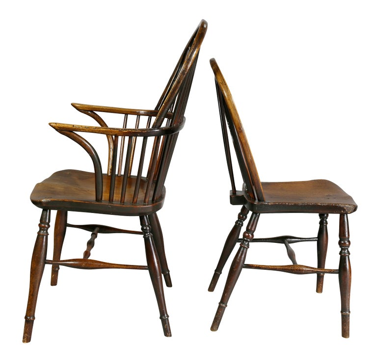 Set of Eight Elm And Oak Windsor Dining Chairs For Sale 4