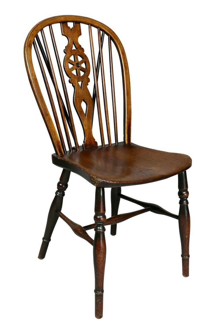 Regency Set of Eight Elm And Oak Windsor Dining Chairs For Sale
