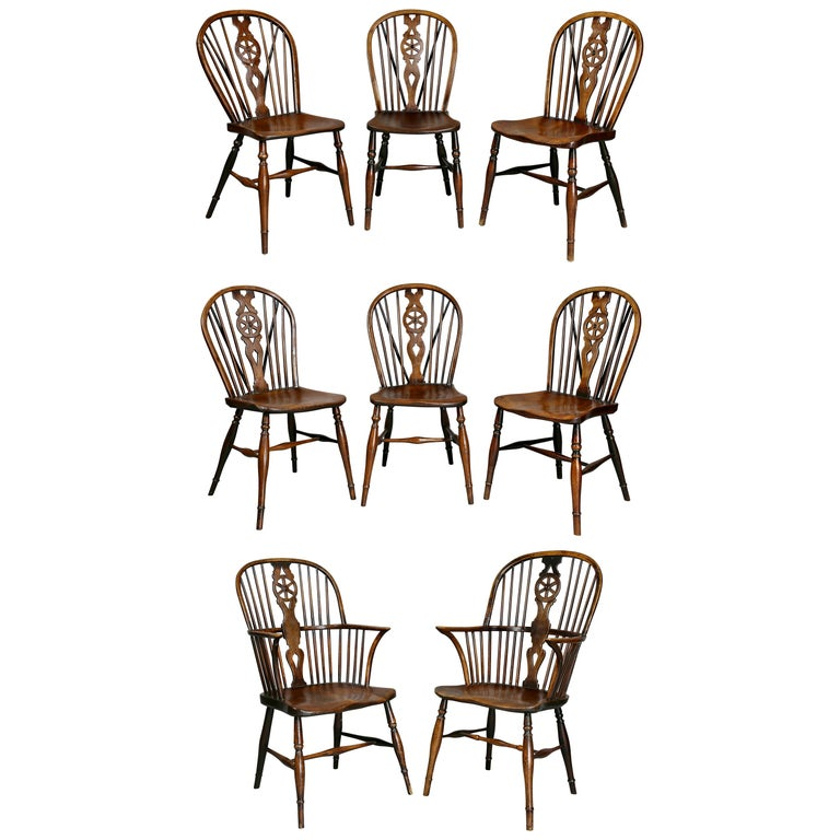 Set of Eight Elm And Oak Windsor Dining Chairs For Sale