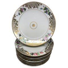 Set of Eight Empire Floral and Gilt Decorated Plates